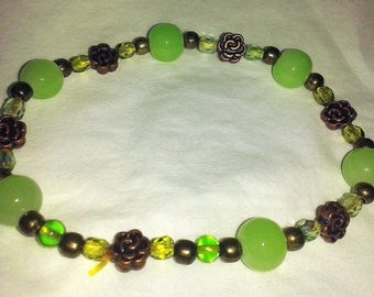 Bronze flower beads and green Bohemian bracelet