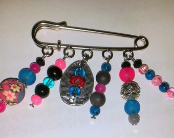 Bohemian brooch or bag pink and turquoise charm