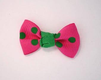 Node in Grosgrain Ribbon with polka dots set of 25: Rose Vif - 001809