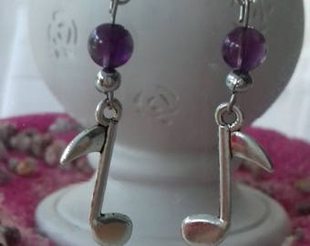 Earrings with charm and its 2 AMETHYST stones