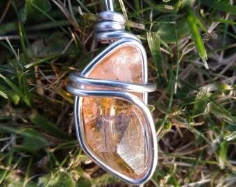 pendentif en quartz aura orange