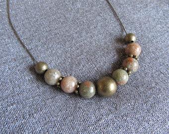 round and bronze snake chain, beads necklace beaded round Unakite gemstone