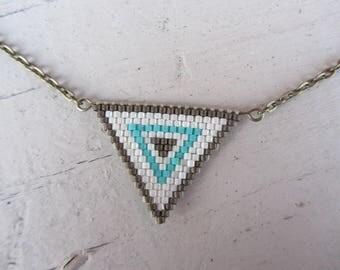 crew neck triangle pendant Japanese miyuki beadwoven glass beads and bronze metal chain