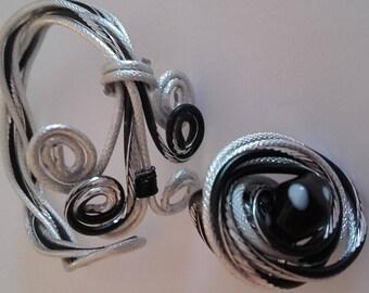 aluminum bracelet and ring set