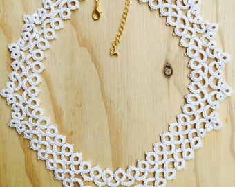 Necklace lace frills cotton cream jewelry