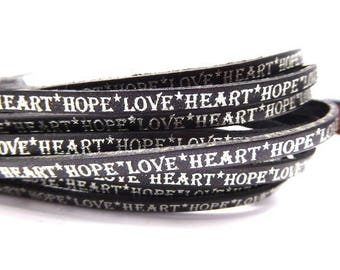 "20 cm Leather Strip 5 mm flat black with engraved message Silver ""hope, love, heart"""