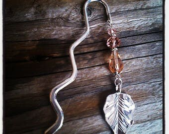 Bookmark silver charm and beads pink