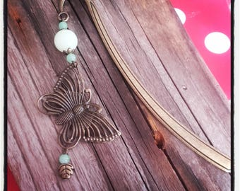 Bookmark bronze butterfly and pastel green Pearl