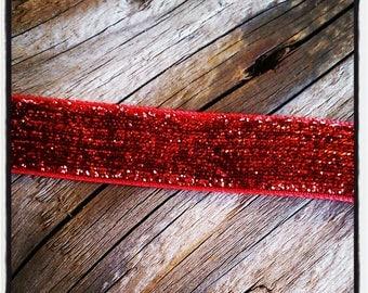 1 m of gorgeous glitter, Velvet Ribbon red 15 mm