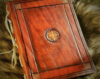 Notebook midori fauxdori tooled leather trimmed with handmade paper 12 5X17cm antique medieval