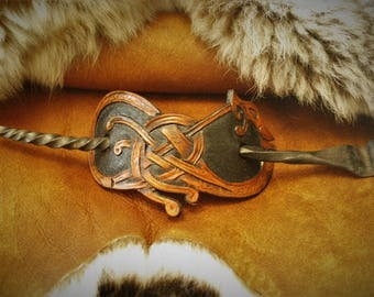 Hair clip viking fantasy Warrior Lagertha mixed embossed leather and hand forged spike