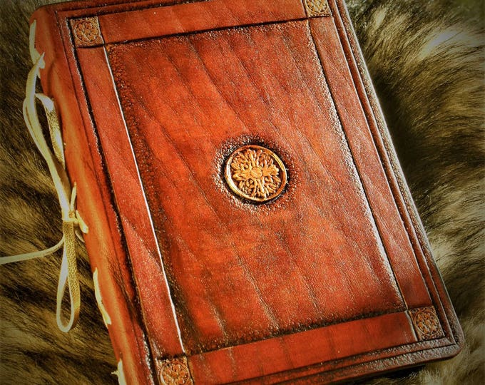 Notebook tooled leather midori trimmed with handmade paper 12 5X17cm antique medieval grimoire