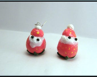 Earrings Fimo Strawberry/whipped cream.