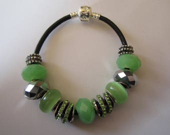 Pandor a style bracelet fashion green and silver