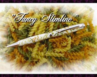 Ballpoint pen in the 'Fancy slimline' range, in silver plating finish.