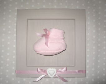 Free shipping! personalized pink baby shoe frame