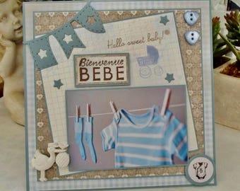 Boy, birth congratulations card, 3D, Hello sweet baby - FN103