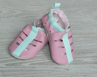 Perforated booties size 20 roses embellished with Mint Green