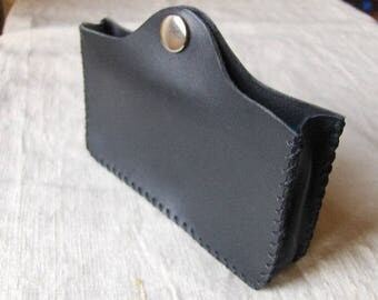 Hand stitched black leather phone case