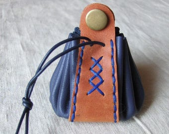 Coin purse is blue-orange leather hand stitched