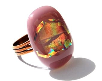 Original ring in pink and gold, technique of fusing - Dichroic Glass Adjustable ring