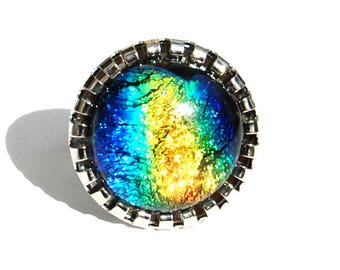 Round ring in blue, green, technology - fusing Dichroic Glass Adjustable ring