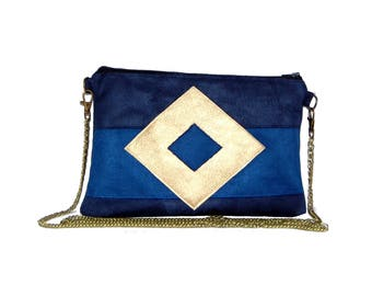Pouch, bag suede 2 shades of blue, Golden graphic line