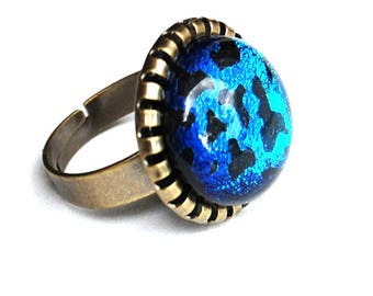 Round ring in blue leopard, technology - fusing Dichroic Glass Adjustable ring