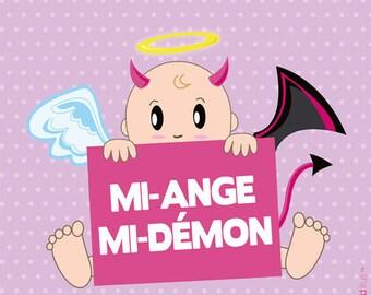 Coupon Polycoton T15 - Mi-ange mi-démon bébé fille