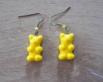 Yellow candy bear earrings