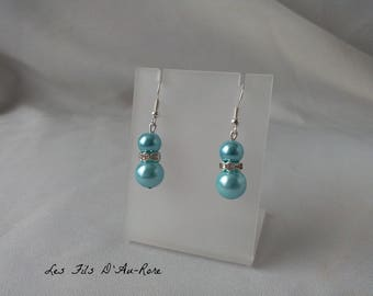 """Earrings """"Azure"""" beads with Pearly blue clear"""