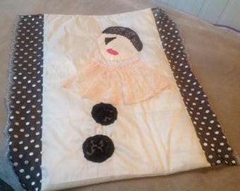 Baby blanket with applied lace and silk taffeta