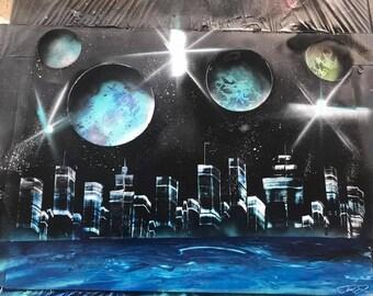 City Scape Spray Paint Picture
