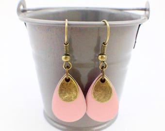 Bronze earrings - Sequins enamelled drops - bronze and pink