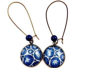 Bronze earrings - cabochon blue flowers