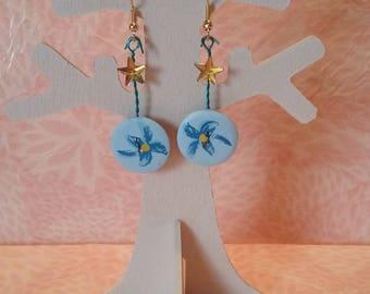 Earrings - small blue flowers