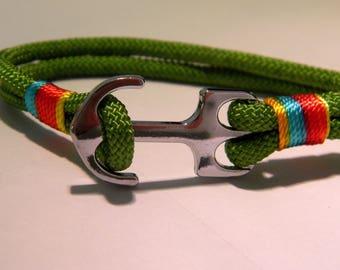 cord bracelet wax braid juxtaposes - 210 mm - customize TRV-olive D35
