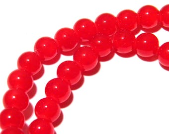 "20 ""jade"" K49 Red 8 mm glass beads"