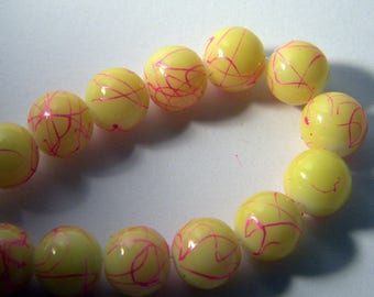 10 pearls glass trefilee 10 mm yellow n ° 4