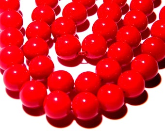 20 baked glass - 8 mm - smooth beads and Red glossy bright bright-PG126-7