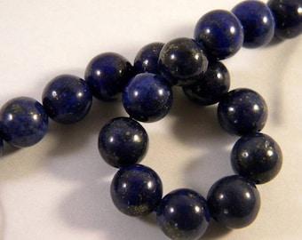 5 lapis lazuli beads 10mm blue - round LL19