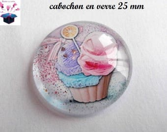 1 cabochon clear 25 mm cake and ice cream theme