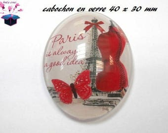 1 cabochon glass 40x30mm Paris fashion theme