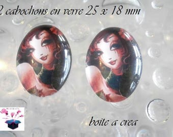 2 cabochons glass 25mm x 18mm miss 30 year theme