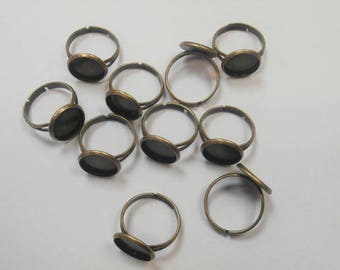 10 rings bronze Adjustable ring 12 mm