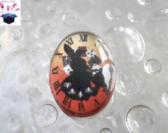 1 glass cabochon 25mm x 18mm theme alice in Wonderland