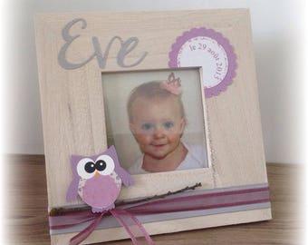 square frame owls - OWL gift baptism customize 2pcs