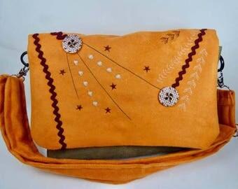 Small shoulder bag, orange and khaki, embroidered bag suede Messenger bag