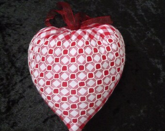Embroidered heart in red and white gingham