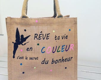 Bag jute Tote burlap bag personnalible several trendy size
